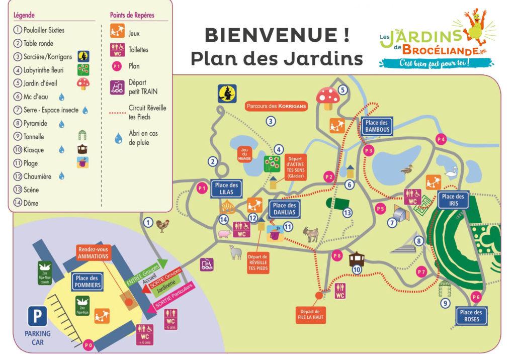 plan des Jardins de Brocéliande
