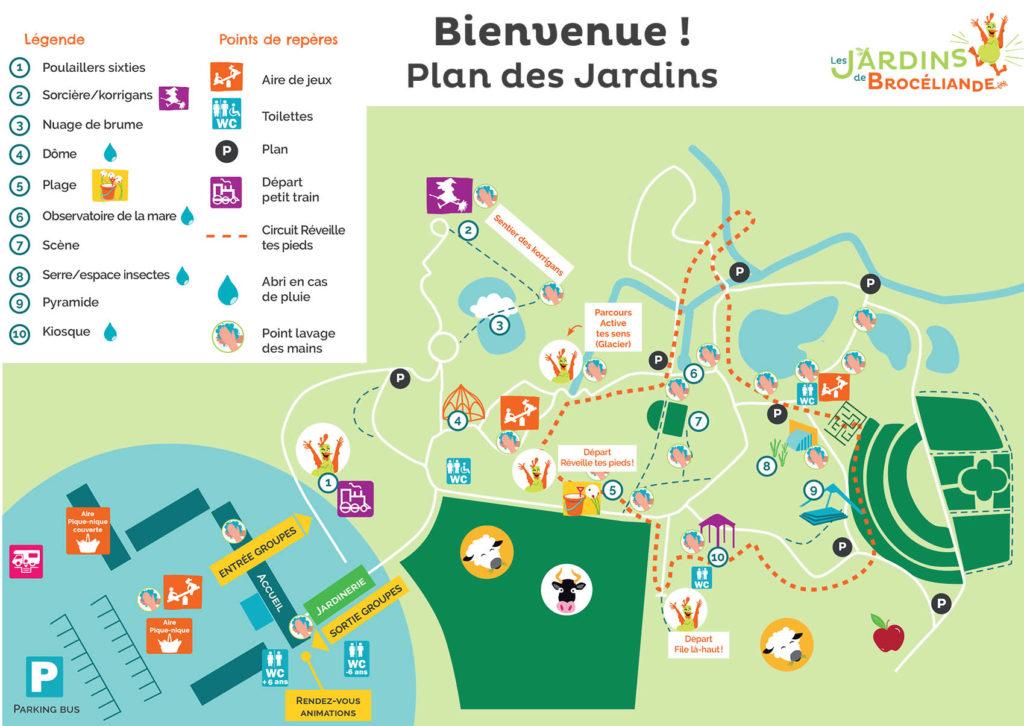 plan Jardins de Brocéliande avec points lavage